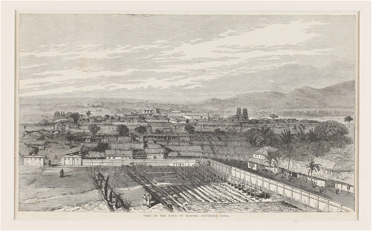 Engraving of the historical Southern Indian town of Mysore