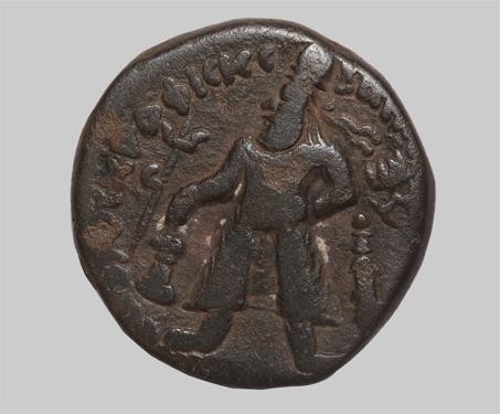 Vima Kadphises, Copper Coin - Ancient India, Casting, Copper Coin, Kharoshti, Kushana, Shiva-Nandi, Vima Kadphises