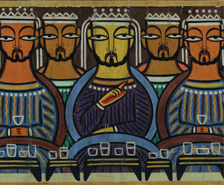 The Last Supper - Bengal School, Christian Art, Faith & Folklore, Figurative, Gouache on Paper, Jamini Roy, Kalighat Painting, Sarmaya Stars