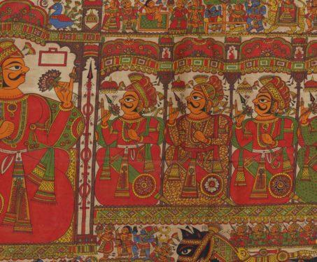 Pabuji ki Phad - Gouache on cotton cloth, Myths & Legends, Rajasthan, Sarmaya Stars, Shrilal Joshi
