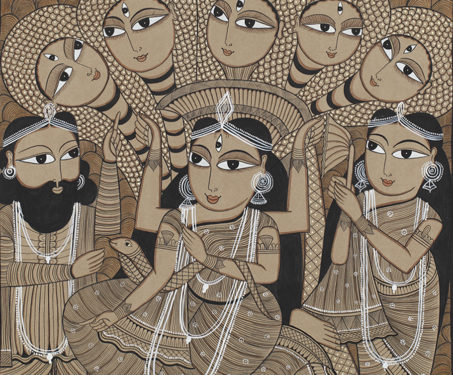 Pattachitra: Manasa pata - Bengal, Bengal Pattachitra, Bengal Patua, Chitrakars, Gods & Goddesses, painting, Patua, Patua Scroll, Sarmaya Stars