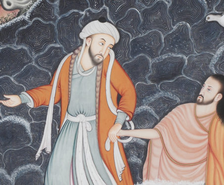 The Baptism of Christ - Christ, Collaboration, Contemporary Art, Hamzanama, Issanama, Manish Soni, Miniature Painting, Mughal Art, Sarmaya Stars