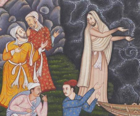 Calming the Storm I - Christ, Christian Art, Collaboration, Contemporary Art, Hamzanama, Issanama, Manish Soni, Miniature Painting, Mughal Art
