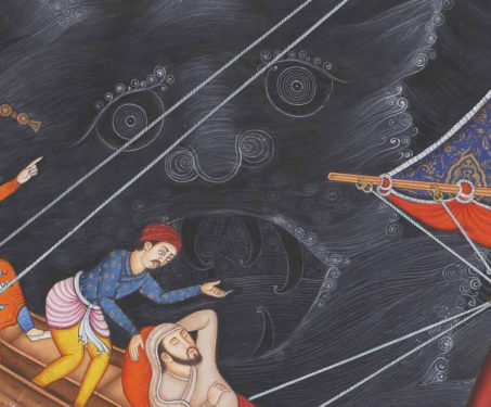 Calming the Storm II - Christ, Christian Art, Collaboration, Contemporary Art, Hamzanama, Issanama, Manish Soni, Miniature Painting, Mughal Art