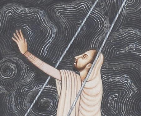Calming the Storm III - Christ, Christian Art, Collaboration, Contemporary Art, Hamzanama, Issanama, Manish Soni, Miniature Painting, Mughal Art
