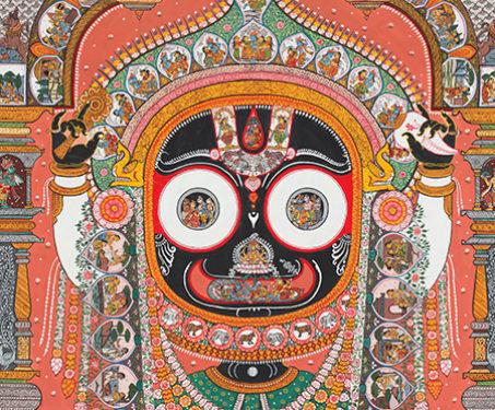 Jatri Poti: Thiya bodiya - Colour on handmade canvas, Jatri Poti, Lord Jagannatha, Maguni, Patta, Pattachitra, Vishnu
