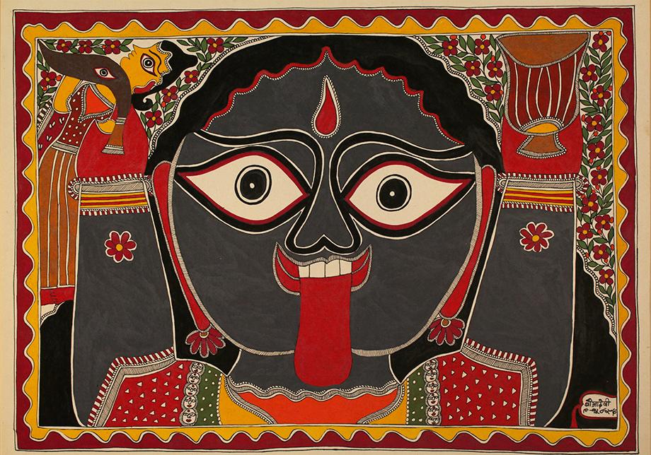 Madhubani art or Mithila paintings of the Goddess Kali