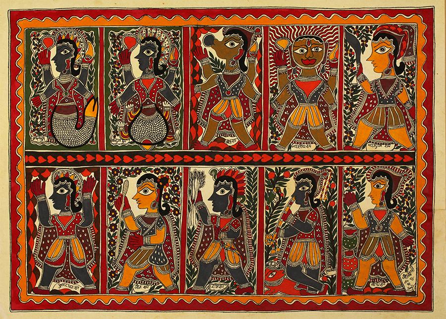 Madhubani art or Mithila paintings the Dashaavathar, the 10 incarnations of Vishnu