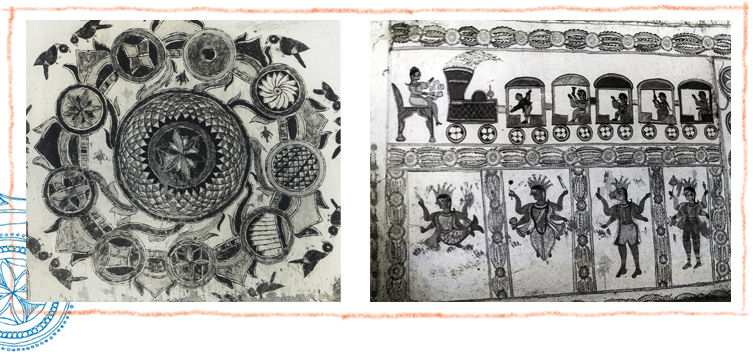 Madhubani art or Mithila paintings photgraphed after being exposed by earthquakes in 1934