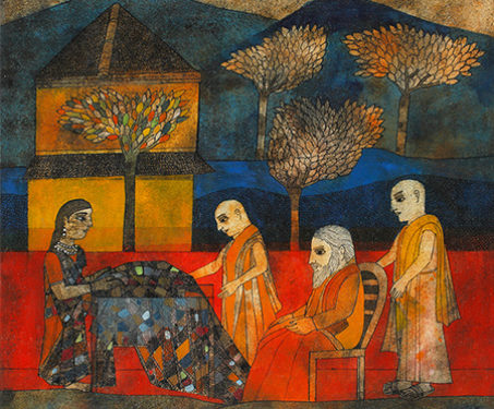 Maya Displaying Her Veil Of Many Colours - Badri Narayan, Buddhist, Storytelling traditions