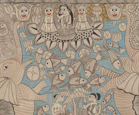 Pattachitra: Santhal Janam Katha - Bengal, Bengal Pattachitra, Bengal Patua, Chitrakars, Folk Art, Gods & Goddesses, Laltu Chitrakar, Pattachitra, Santhal