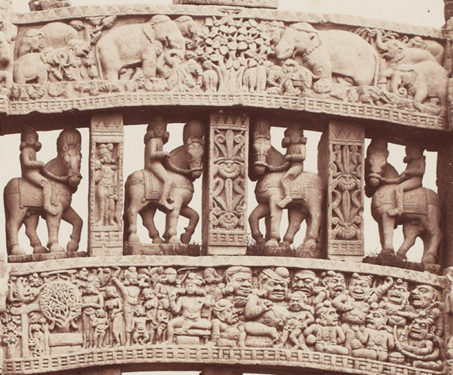 Details on the top of the Northern Gate of Sanchi Stupa - Albumen silver print, Bhopal, Buddhist, Lala Deen Dayal, Madhya Pradesh