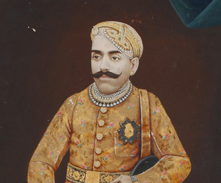 Painted Photograph of Maharana Bhupal Singh of Udaipur - Indian Royalty, Miniature Painting, Painted photography, Rajasthan, Udaipur