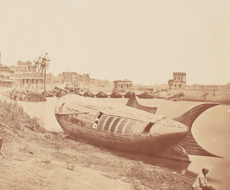 The Chattar Manzil Palace and the Royal Boat of Oude - Albumen silver print, Awadh, Lucknow, Nawab
