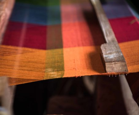 Kandangi saree on a loom