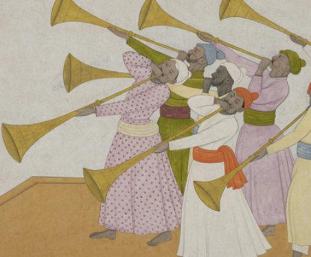 Nainsukh's Trumpeters - miniatures, Nainsukh
