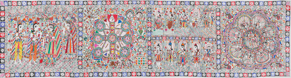 Mudhubani painting or Mithila art of scenes from the Ramayan in a wide art piece with multiple panela seprated by patterned borders.