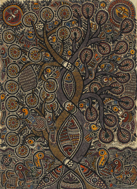 Madhubani painting or Mithila art of a tree with birds and natural motifs