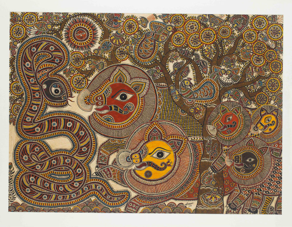 Lion and the snake Madhubani painting or Mithila art featuring a blue pigment extracted from Aparajita flowers