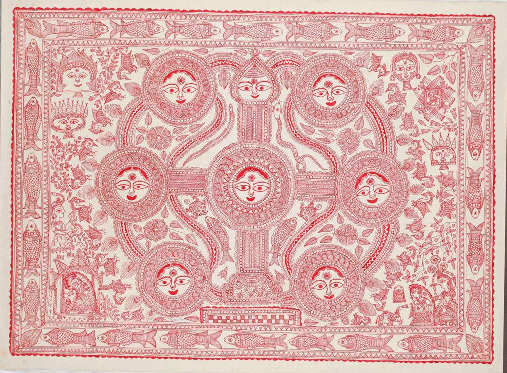 Mudhubani painting or Mithila art mural for the bridal chamber called Kohbar. Featuring a lotus motif and symbolising fertility.