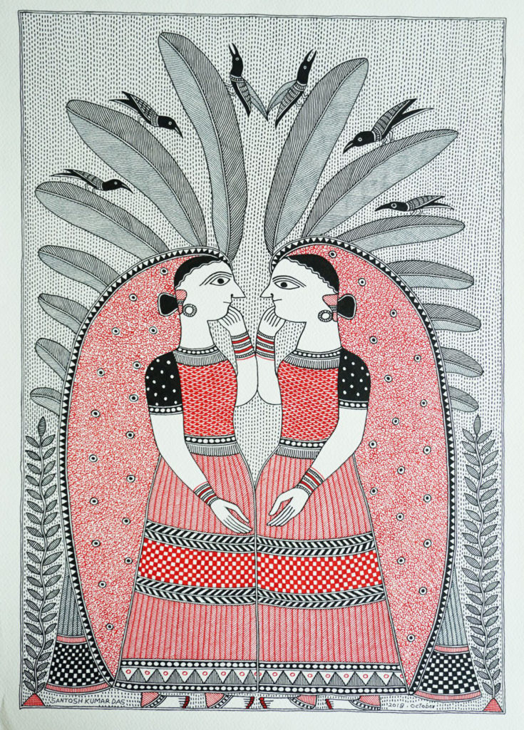 Madhubani painting or Mithila art of two women featuring a red pigment from the Palash flower