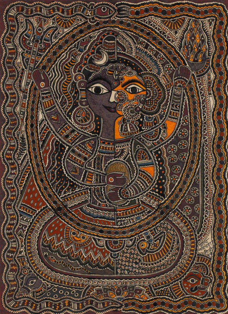 Mudhubani painting or Mithila art of Ardhanarishwar, a diety symbolising the union of male and female.