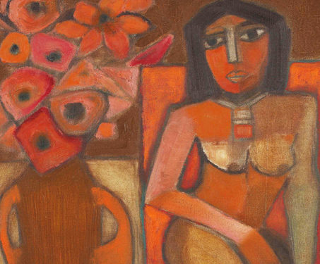 Nude with Still Life - Badri Narayan, miniatures, Modern and contemporary art, Nudes, Still Life