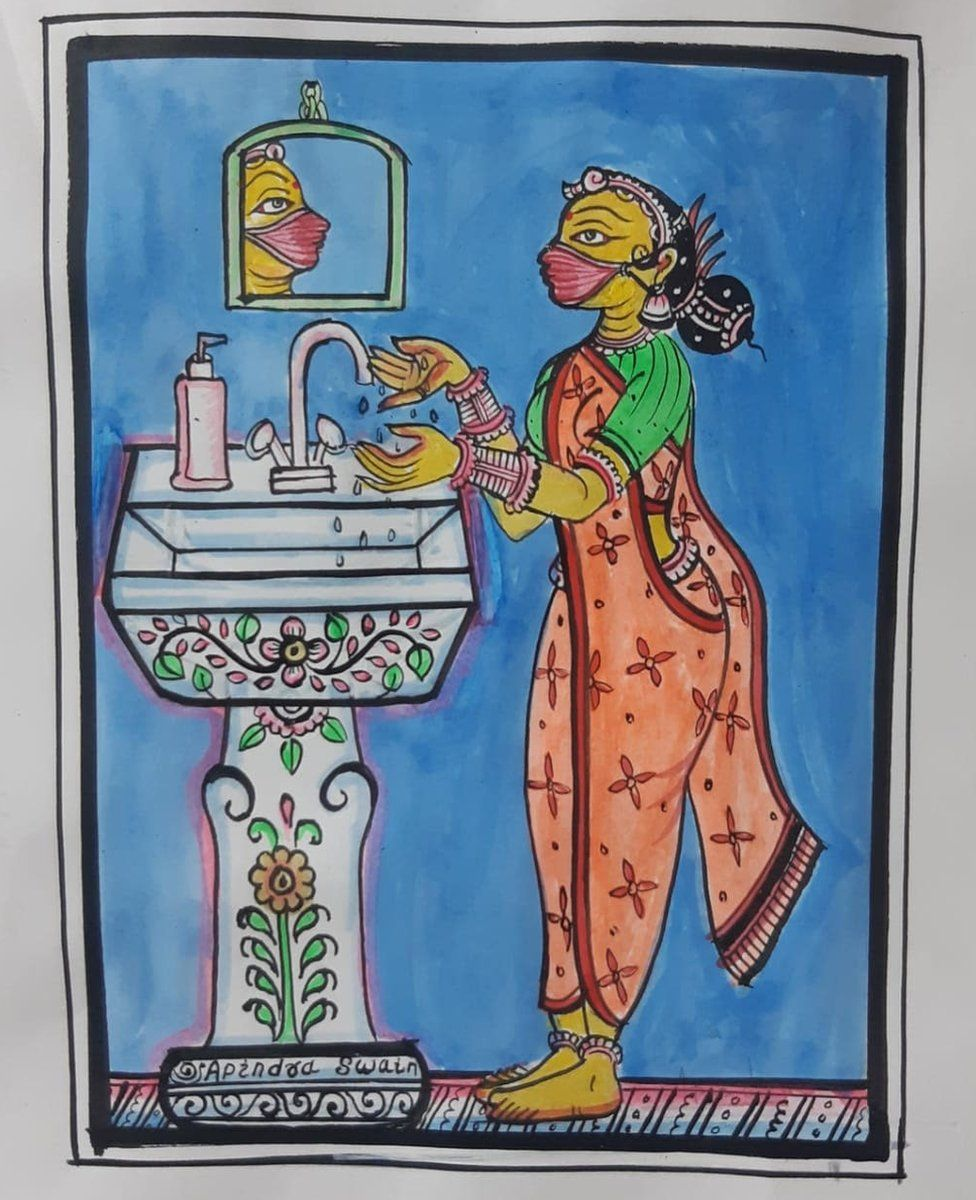 Art and Covid-19 - Indian folk art painting of a woman wearing a saree and a mask washing her hands at a wash basin