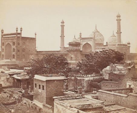 Entrance to the large mosque of Jumma Masjid, Delhi - 19th Century Photography, Albumen print, Delhi, Felice Beato, Mosque, Mughal architecture, Shah Jahan