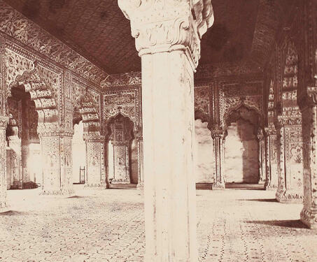 The Palace interior of the Dewan-i-Khas, Delhi - 19th Century Photography, Delhi, Mughal, Peacock Throne, Red Fort, Samuel Bourne