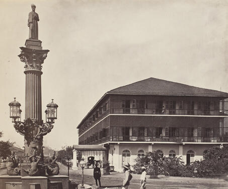 Standing Parsi Statue and the Byculla Hotel, Bombay - 19th Century Photography, Bombay, Hotel, Memorial, Parsi