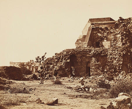 Observatory and Battery with Hindoo Rao's House in the Distance, Delhi - 1857, 1857 Uprising, Delhi, Felice Beato, Firuz Shah Tughlaq