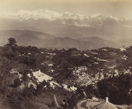View from St. Pauls School, Darjeeling - British India, Darjeeling, early 20th century photography, Hill-station, Himalayas, Tea
