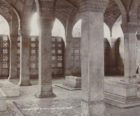 Interior view of sixty four pillars, Delhi (Chaustht Khamba, Delhi) - 17th century, Delhi, Mughal, Mughal architecture, Nizamuddin