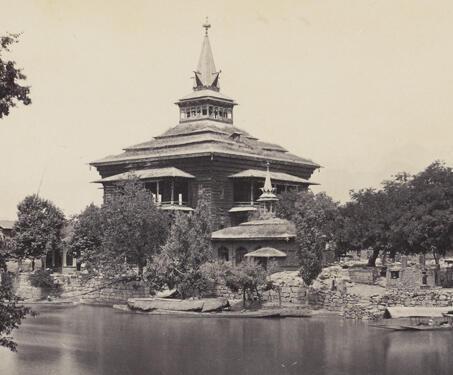 Shah Hamadan Masjid, Srinuggur - Islamic Architecture, 14th century, 19th Century Photography, Himalayas, Kashmir, Mosque, Samuel Bourne