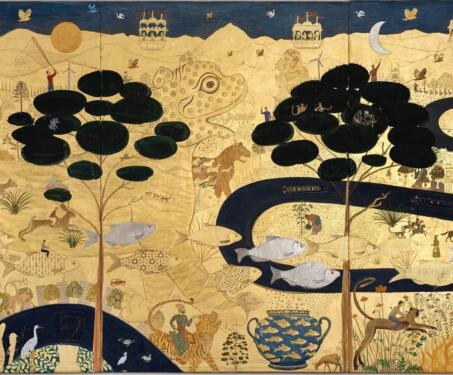 Wild Things - Contemporary Art, Gold, jethro buck, Miniature Painting, Nature, Sarmaya Stars, Tiger