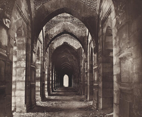 Corridor Of Golden Mosque, Gaur - 19th Century Photography, Bengal, Bengal Presidency, Bengal Sultanate, Gaur, Medieval Architecture, monuments