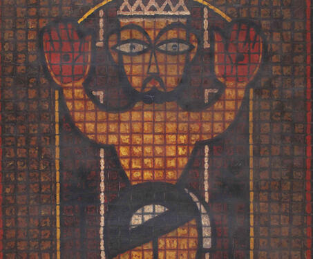 Crucified Jesus - Bengal, Bengal School, Calcutta, Christ, Christianity, Crucifixion, Jamini Roy, Modern Art, Modern Indian Art, Patua