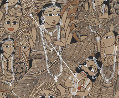 Pattachitra: Durga - Bengal Pattachitra, Bengal Patua, Chitrakars, Durga, Folk Art, Indian Mythology, West Bengal