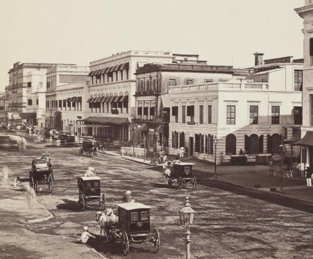 Old Court House street, Calcutta - 19th Century Photography, Bengal Presidency, British India, Calcutta, Colonial Architecture, Fort William, Lal Dighi, Samuel Bourne
