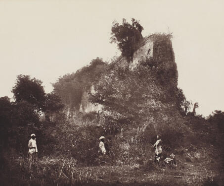 Section of Bais Gaji Wall, Gaur - 19th Century Photography, Bengal, Bengal Presidency, Bengal Sultanate, Gaur, Medieval Architecture, monuments