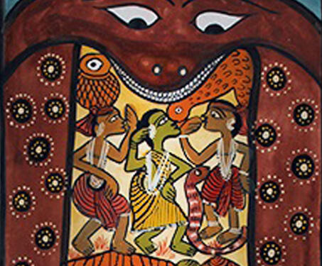Pattachitra: Untitled - Bengal Pattachitra, Bengal Patua, Chitrakars, Folk Art, Indian Mythology, Monimala Chitrakar, West Bengal