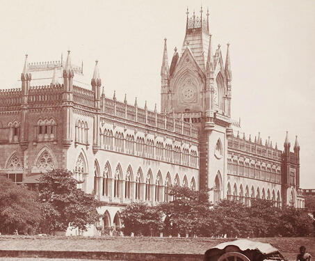 View of the High Court, Calcutta - 19th Century Photography, Bengal Presidency, British India, Calcutta, Colonial Architecture, East India Company, Fort William, Gothic Style, Lal Dighi, Walter L. B Granville