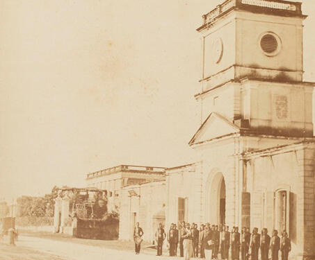 Clock Tower and Jail, Chandernagore (Chandannagar) - 19th Century Photography, Bengal, Bengal Presidency, Chandannagar, Colonial India, Colonialism, Indo-French