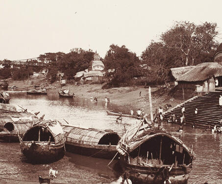 View of the Kali Ghat, Calcutta - 19th Century Photography, Bengal, Bengal Presidency, Calcutta, Ghats, Kalighat, Patuas, Samuel Bourne, Temple, West Bengal