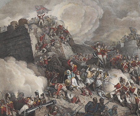 Storming of Seringapatanam (triptych) - Anglo Mysore War, British East India Company, Engraving, Indian history, Mysore, Seringapatam, Tipu Sultan