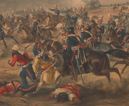 Charge of HM 14th Light Dragoons at the Battle of Ramnuggur - 19th century, Anglo-Sikh War, Battles, British East India Company, Chenab, Indian history, Punjab