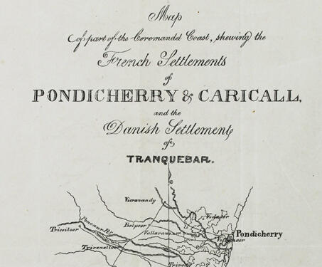 Map of part of the Coromandel Coast, Showing the French Settlements of Pondicherry and Caricall and the Danish Settlement of Tranquebar - 19th century, Cartography, Coastal maps, French East India Company, Indian Cartography, Maps, Pondicherry, Topographic