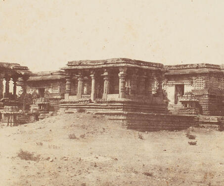 General View from the North-east, The Great Temple, Hullabeed ( Hoysalesvara Temple, Halebidu) - 19th Century Photography, Karnataka, Sacred Spaces, Shiva-Nandi, Temple Architecture, William Henry Pigou