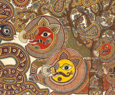 Madhubani or Mithila Painting - Bihar, featured, Jyoti Karn, Madhubani, Mithila, Monochrome, Moti Karn, Natural Dyes, Nature, Poetry & Nature, SK Das